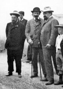 Blasco Ibáñez (derecha) con Benlliure (centro) y Sorolla (izquierda)